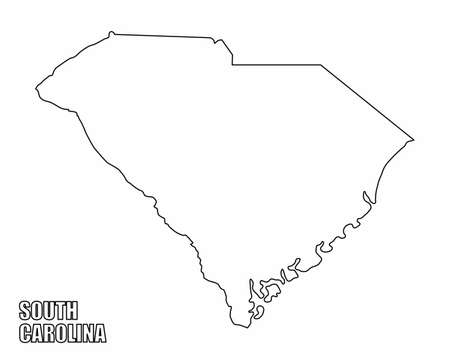 The South Carolina State outline map isolated on white background