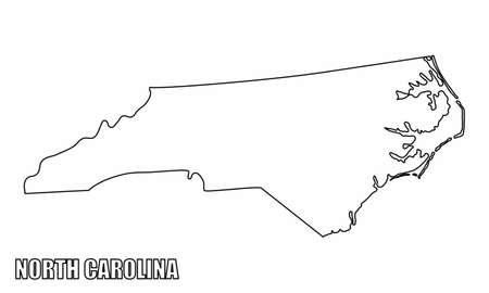 The North Carolina State outline map isolated on white background