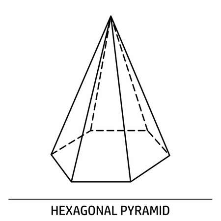 A Hexagonal Pyramid outline icon on white background