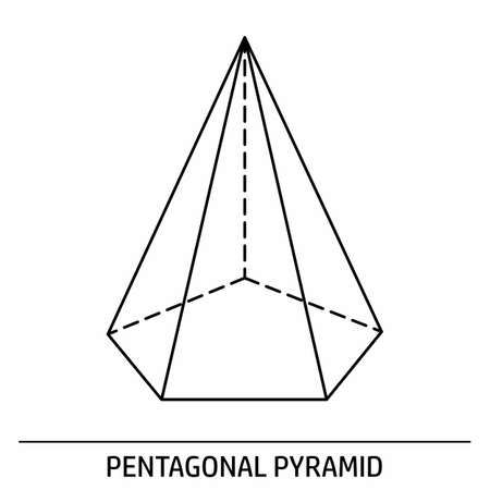 Pentagonal Pyramid outline icon  イラスト・ベクター素材