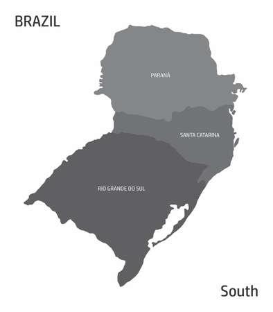 Brazil South region map Ilustração