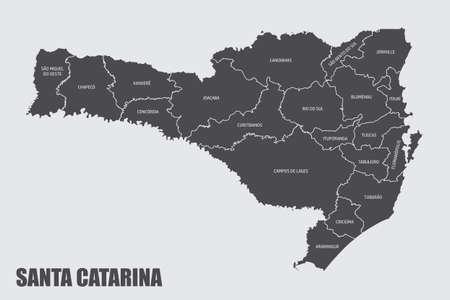 Santa Catarina State regions map Illusztráció