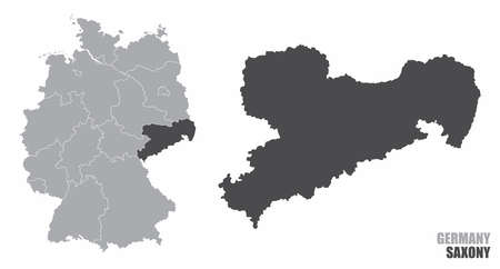 Saxony silhouette map