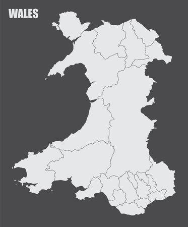 Wales regions map Ilustração