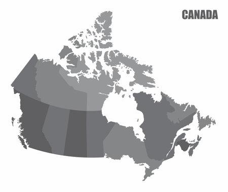 Canada provinces map Ilustração
