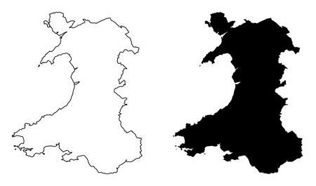 Wales silhouette maps