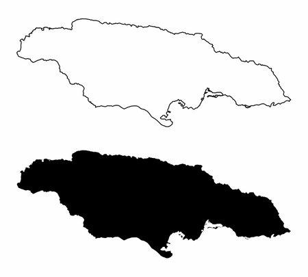 Jamaica silhouette maps