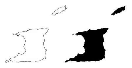 Trinidad and Tobago silhouette maps