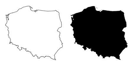 Poland silhouette maps