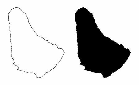 Barbados silhouette maps
