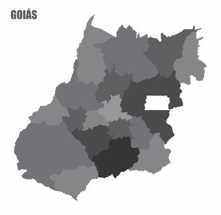 Goias regions map Ilustração