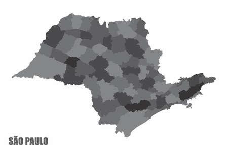 Sao Paulo regions map Ilustração