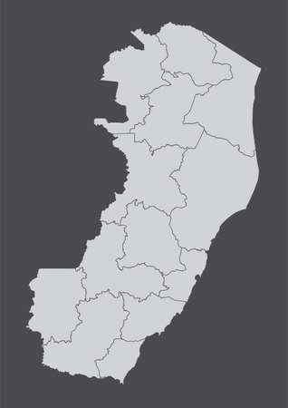 Espirito Santo State regions map Ilustração