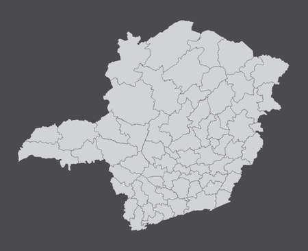 Minas Gerais State regions map