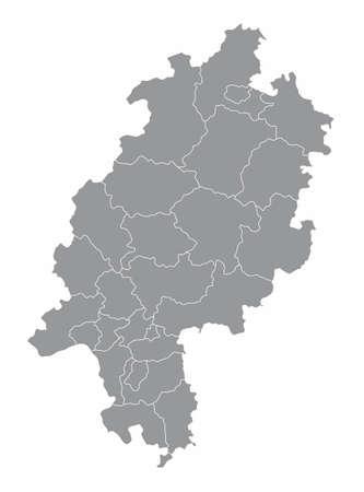 Hesse districts map 矢量图像