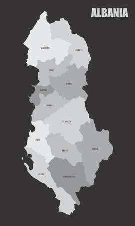 Albania regions map Ilustração