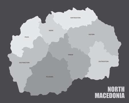 North Macedonia regions map