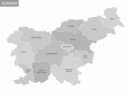 Slovenia grayscale map Ilustração