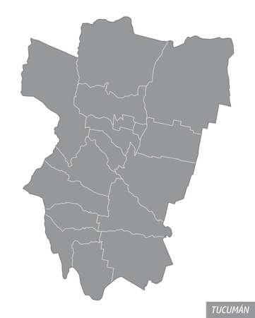 Tucuman province administrative map Ilustração