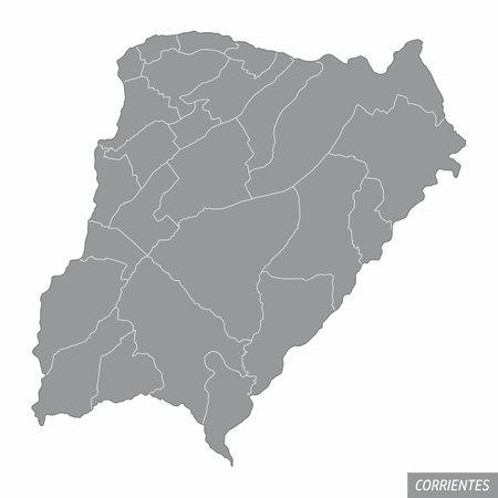 Corrientes province administrative map Ilustração