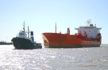 tugboat: Ship helped by tugboat