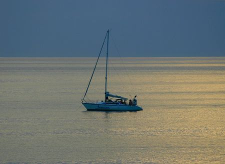 Lonely boat at sunset