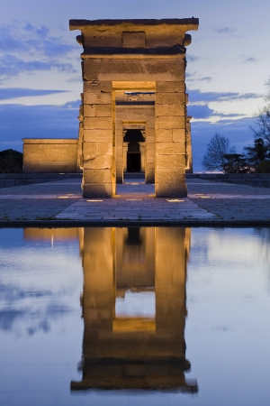 Reflection of the gate of an egyptian temple photo