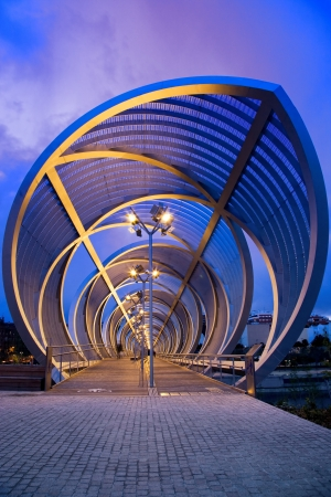 Front view of the Perrault bridge, in Madrid, Spain, at night Stock Photo - 16870654