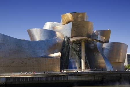 Close view of the Guggenheim museum in Bilbao Editorial