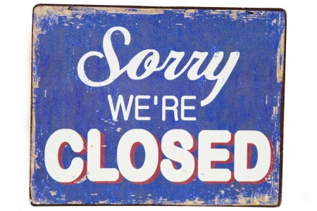 sorry: Vintage metal closed sign Stock Photo