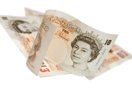 libra esterlina: Selectivo se centran en varios diez libras nota en blanco