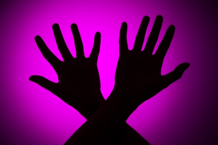 mistreatment: Fear concept on a pink background