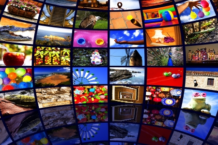 satellite tv: Inside a huge multi TV spherical wall Stock Photo