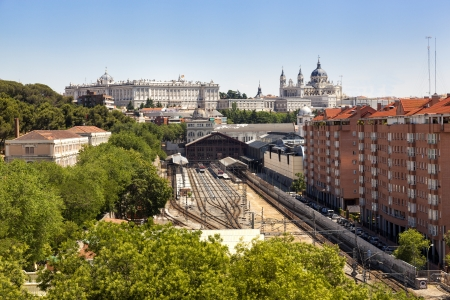 pio: Madrid cityscape with the Prince Pio railway station, the Royal Palace and the Almudena cathedral Stock Photo
