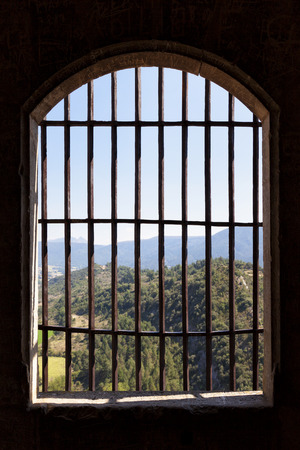 ancient prison: Landscape viewed from the window of a prison