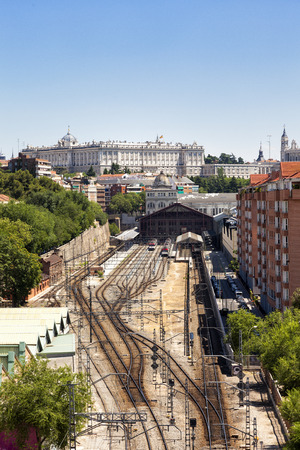 pio: Madrid cityscape with the Prince Pio railway station and the Royal Palace