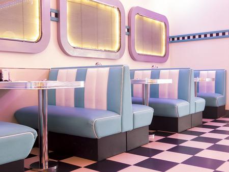 Pink illuminated 50s style burger Standard-Bild