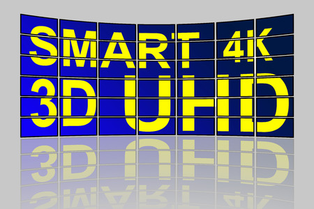 ultra modern: Concept of Ultra High Definition smart 3D 4K TV videowall with reflection Stock Photo