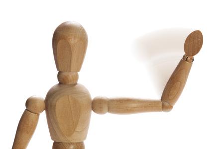 wooden mannequin: Wooden mannequin waving hello or goodbye