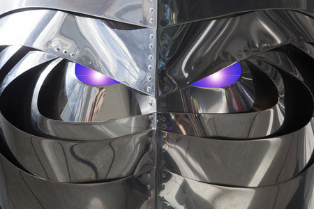 intelligent: Concept of an intelligent living robot based on a stainless steel structure detail Stock Photo