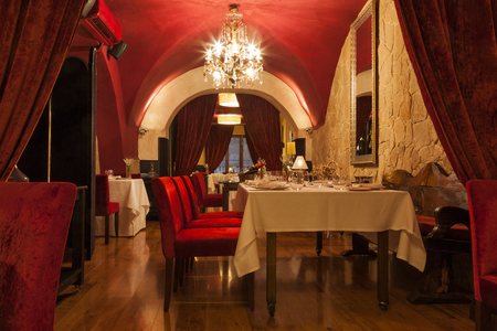 traditiional: Empty restaurant with traditional decoration in red