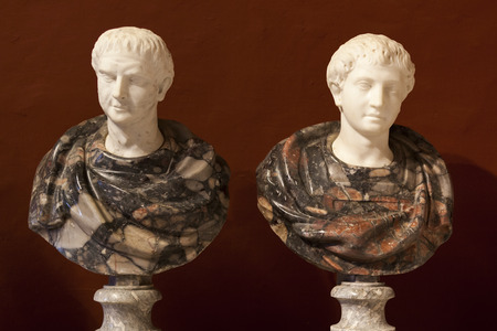 busts: Marble sculptures of two roman senators
