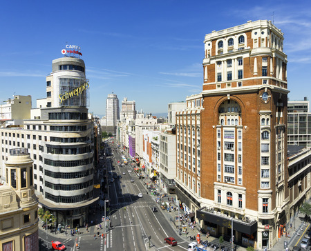 gran via: Citiscape Madrid, with the Gran Via street, the Capitol and the Palace of the Press Palace of the Press