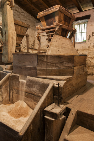 millstone: Old water powered working flour mill