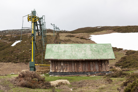 station ski: Abandoned ski station without snow, out of winter season Editorial