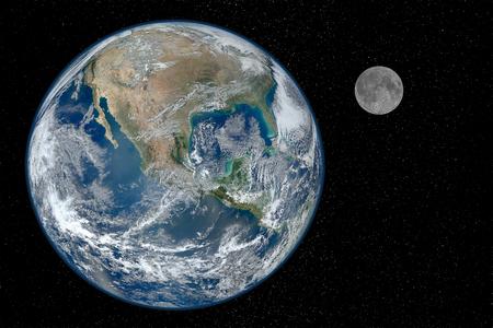 地球と星空の空間を黒背景に月。 写真素材