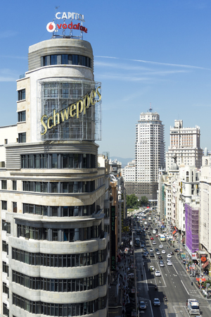 downtown capitol: Madrid citiscape, with Capitol building besides the Gran Via street, in Spain