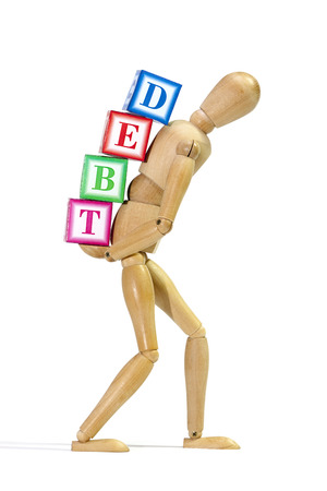 indebtedness: Mannequin loaded with debt as a concept of debt burden