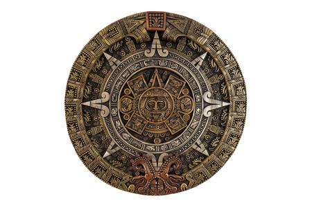 Geïsoleerde oude Azteekse kalender Stockfoto