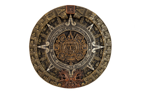 Isolated ancient Aztec calendar 版權商用圖片